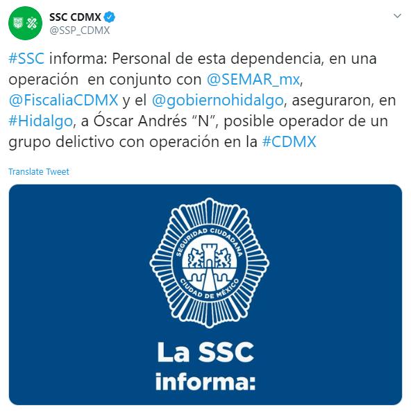 """IMAGEN Detienen a """"El Lunares"""", líder de La Unión Tepito, en Hidalgo (SSC Twitter)"""