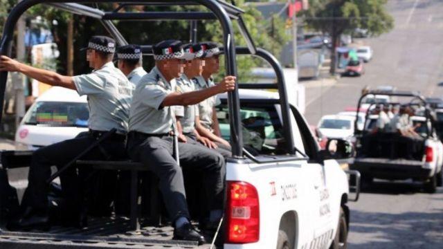 Operativo de seguridad de la Guardia Nacional.