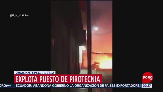 FOTO: 1 enero 2020, explota puesto de pirotecnia en puebla
