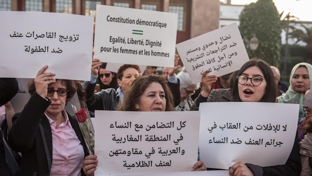 Foto: Protesta contra la violencia de género en Marruecos, 23 de enero de 2020, (Getty Images, archivo)