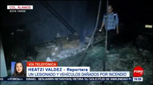 Foto: Incendio Colonia Álamos Lesionado Afecta Varios Carros 28 Enero 2020