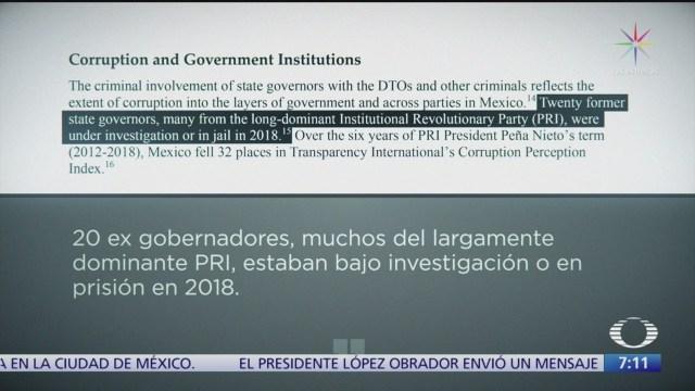 informe del congreso de eeuu denuncia corrupcion entre gobernadores y partidos de mexico