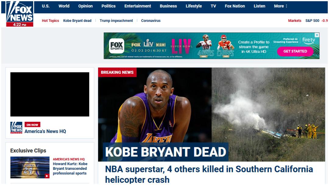 Fox News así dio a conocer la muerte de Kobe Bryant
