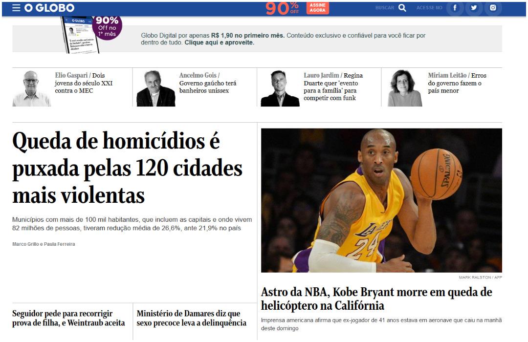La prensa brasileña informó sobre la muerte de Kobe Bryant