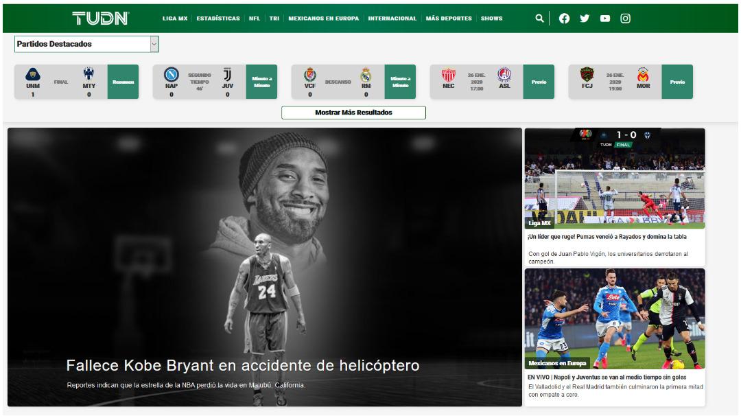 Así reportó TUDN muerte de Kobe Bryant
