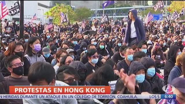 manifestantes de hong kong piden apoyo internacional