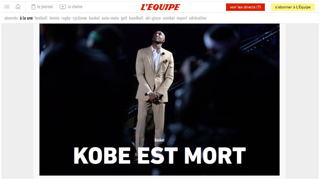 La prensa francesa lamentó la muerte de Kobe Bryant