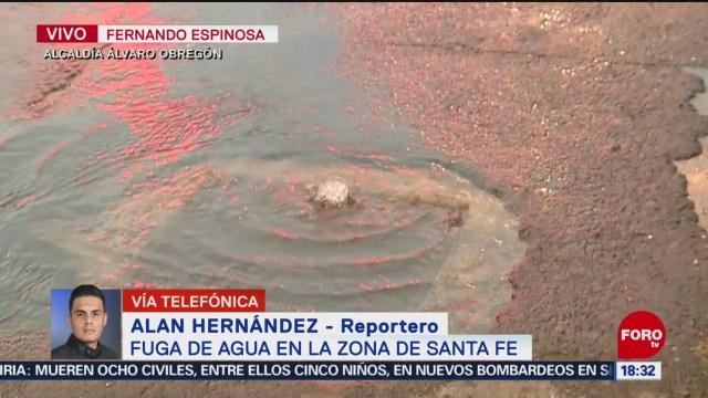 FOTO: se registra fuga de agua en santa fe cdmx