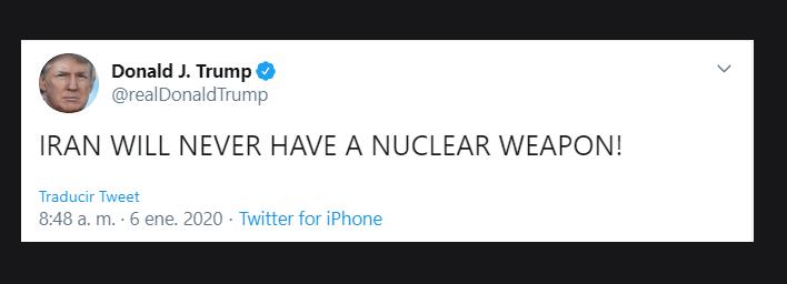 Foto: Trump afirma que Irán 'nunca tendrá el arma nuclear'