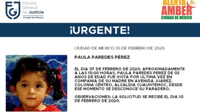 IMAGEN Alerta Amber por la niña Paula Paredes Pérez, de 3 años (Fiscalía CDMX)