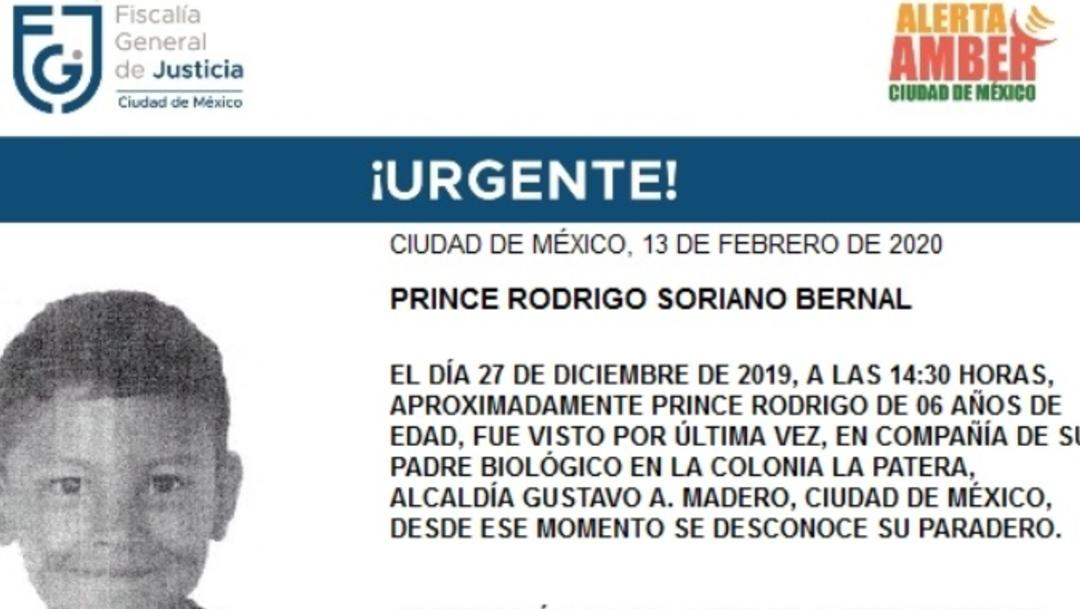 IMAGEN Alerta Amber por Prince Rodrigo Soriano, de 6 años (Fiscalía CDMX)
