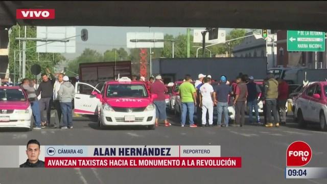 avanzan taxistas hacia el monumento a la revolucion