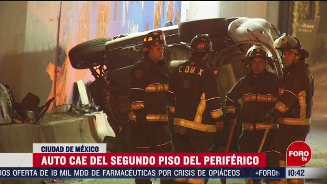 FOTO: 16 Febrero 2020, cae auto desde segundo piso periferico hay dos muertos
