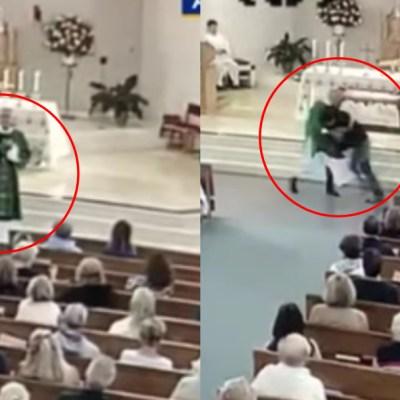 Video: Hombre agrede a diácono en plena misa