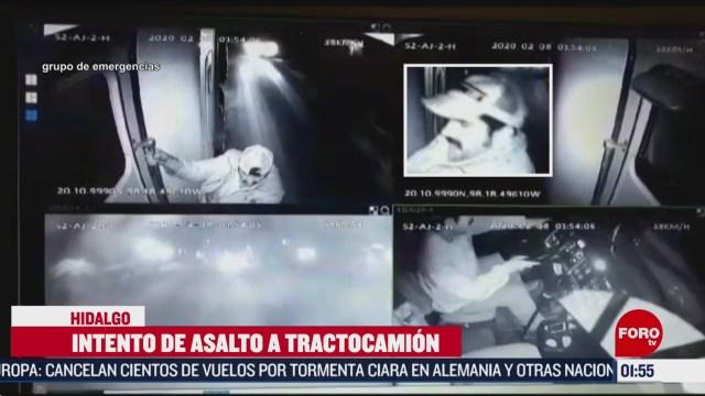 FOTO: conductor de trailer escapa de intento de asalto