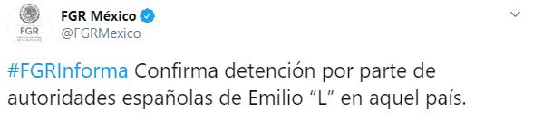 IMAGEN Fiscalía General de la República (FGR) confirma la captura de Emilio Lozoya (Twitter)