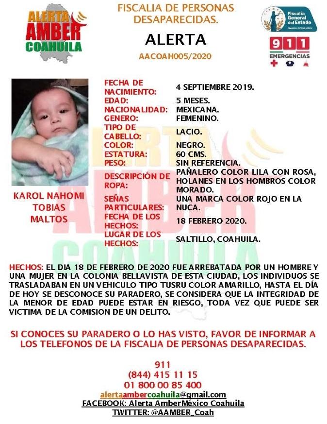 Activan Alerta Amber por secuestro de bebé en Saltillo