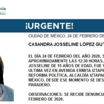 Alerta Amber: Casandra Josseline desapareció en Iztapalapa