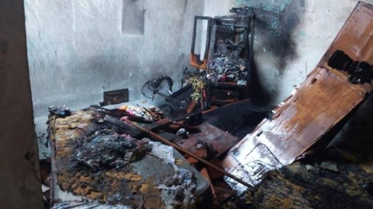 Foto: El cuarto de los niños se incendió por la explosión de la tableta. Twitter/TelenorteNic