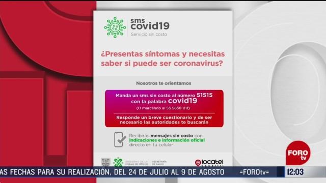 a traves de sms se detectaran casos sospechosos de coronavirus
