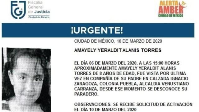 FOTO: Activan Alerta Amber para localizar a Amayely Yeraldit Alanis Torres, el 11 de marzo de 2020