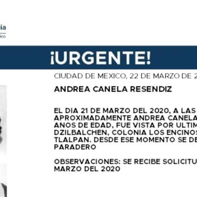 Activan Alerta Amber para localizar a Andrea Canela Reséndiz