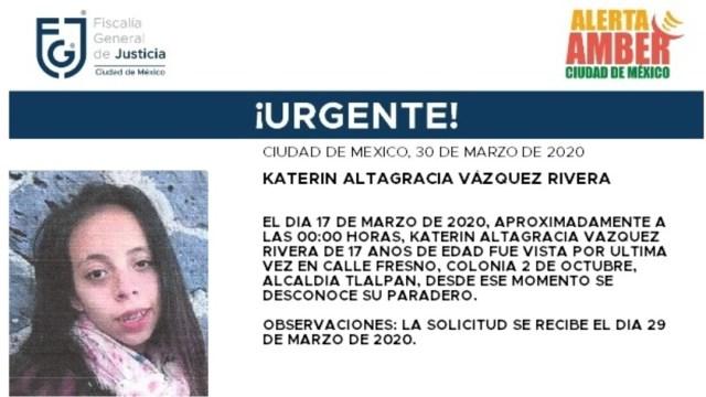 FOTO: Activan Alerta Amber para localizar a Katerin Altagracia Vázquez Rivera, el 30 de marzo de 2020