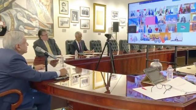 El presidente Andrés Manuel López Obrador en una reunión con el G20 (Foto: @lopezobrador_)