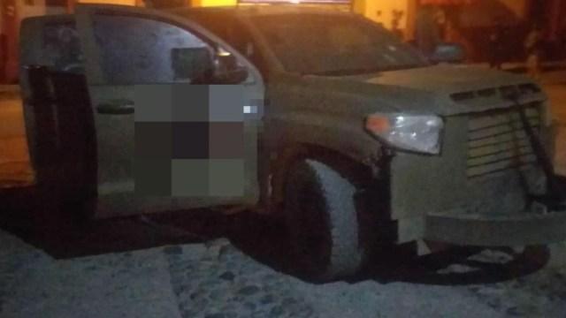 Foto: Aseguran en el municipio de Chinicuila un vehículo con blindaje artesanal, 9 marzo 2020