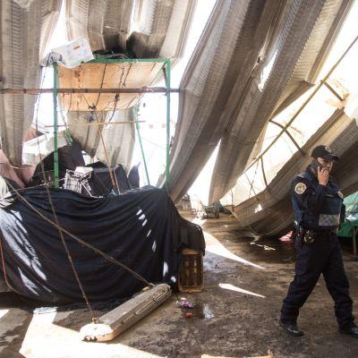 Inician remoción de escombros tras colapso de techo en la Central de Abasto