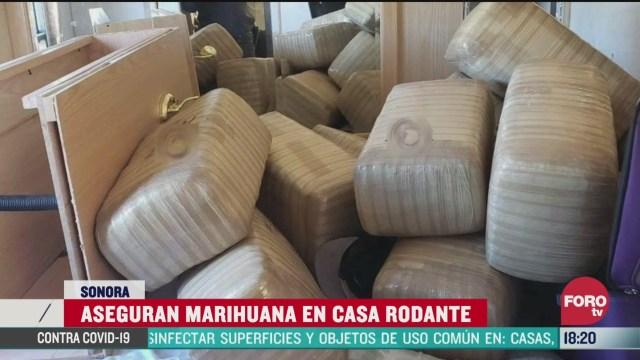 FOTO: 28 marzo 2020, decomisan 890 kilos de marihuana que era trasladada en una casa rodante en sonora