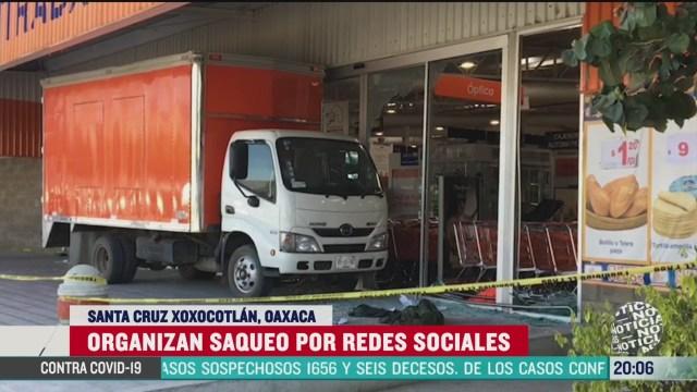 Foto: Video Encapuchados Saquen Tienda Autoservicio Oaxaca 25 Marzo 2020