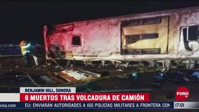 FOTO: 8 marzo 2020, fallecen seis personas tras volcadura de camion en sonora