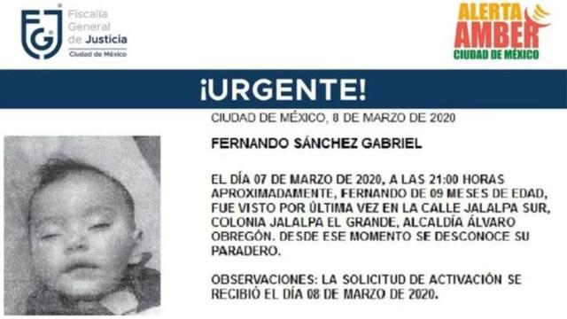 Foto: Activan Alerta Amber para localizar a Fernando Sánchez Gabriel, 9 marzo 2020