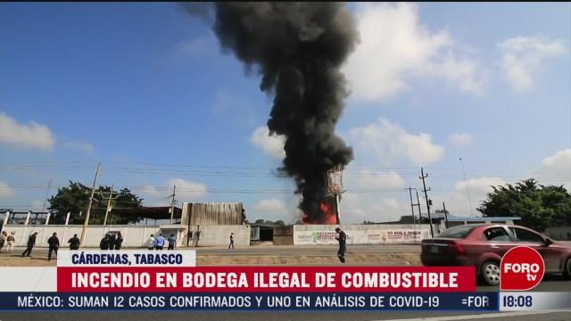 FOTO: incendio en bodega clandestina de combustible en tabasco