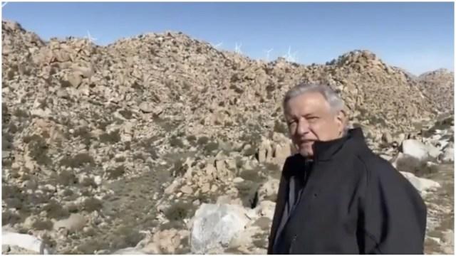 Foto: López Obrador visitó el parque eólico de La Rumorosa, 28 de marzo de 2020 (AMLO)