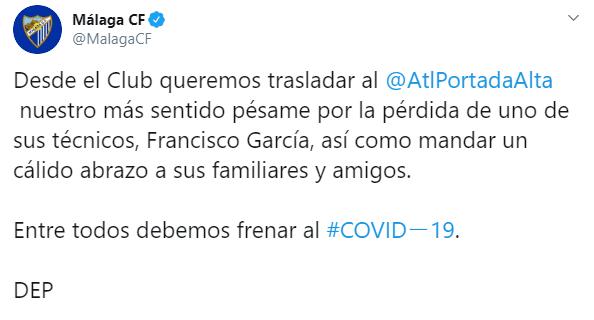 IMAGEN Muere entrenador de 21 años en España por coronavirus (Twitter)