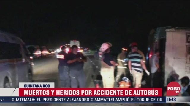 muertos y heridos por accidente de autobus en quintana roo