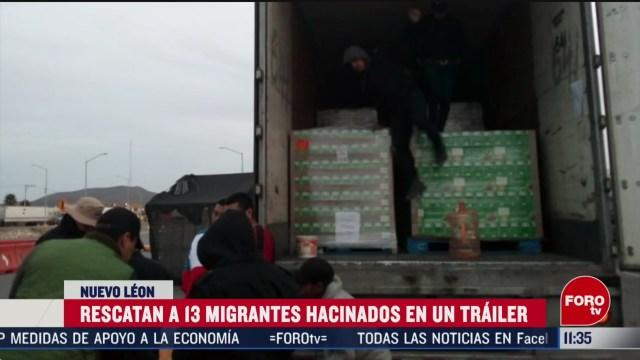 FOTO: 14 marzo 2020, rescatan a 13 migrantes hacinados en un trailer en nuevo leon