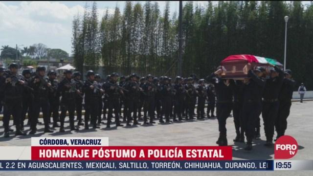 FOTO: 22 marzo 2020, rinden homenaje a policia fallecido tras accidente de helicoptero en veracruz