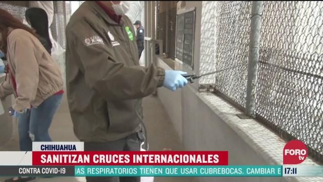 FOTO: sanitizan cruces de frontera mexico eeuu en ciudad juarez para evitar brotes de coronavirus