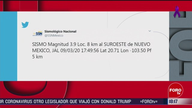 FOTO: se registra sismo de magnitud 3 9 en jalisco