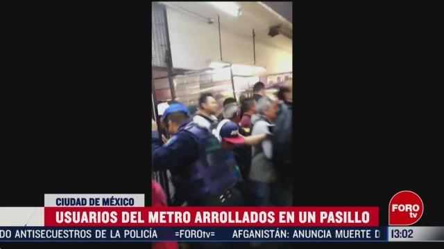 FOTO: usuarios del metro provocan estampida en estacion pantitlan