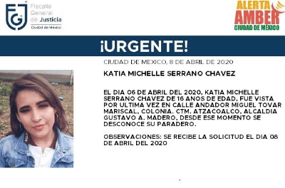 Foto: Activan Alerta Amber para localizar a Katia Michelle Serrano Chávez