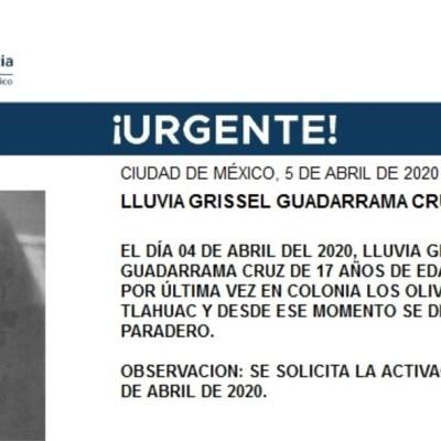 FOTO: Activan Alerta Amber para localizar a Lluvia Grissel Guadarrama Cruz, el 6 de abril de 2020