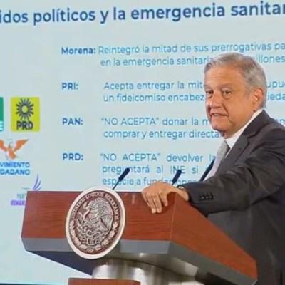 AMLO anuncia qué partidos donarán presupuesto para enfrentar coronavirus