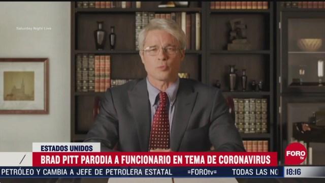 FOTO: brad pitt parodia a funcionario de trump en tema de coronavirus