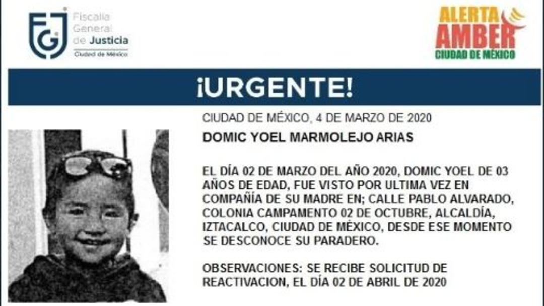 Activan Alerta Amber para localizar a Domic Yoel Marmolejo Arias, 3 abril 2020