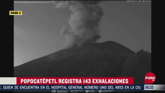 FOTO: el volcan popocatepetl ha registrado 143 exhalaciones en las ultimas horas la alerta volcanica continua en amarillo fase