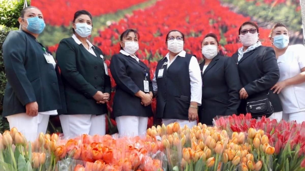 Holanda regala tulipanes a personal del IMSS